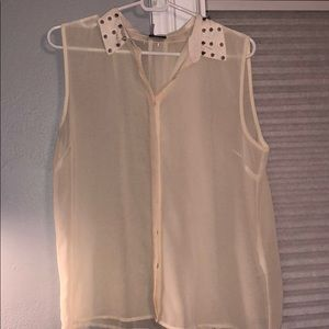 Off white sheer tank top with silver studs